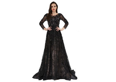 China Brilliant Vintage Evening Dresses , Women Upscale Long Sleeve Evening Gowns factory