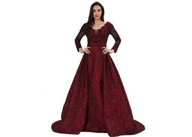 China Purplish Red Women Party Long Sleeve Evening Gowns / Vintage Nightdress distributor