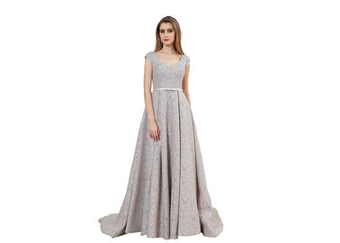 China Unique Backless Wedding Bridesmaid Dresses / Bow Sash Long Wedding Dress distributor