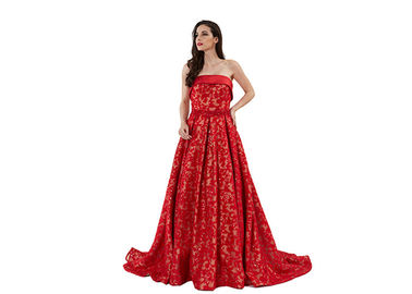 China Sequin Strapless Arabic Long Mermaid Wedding Dress Red Color Customized Size distributor