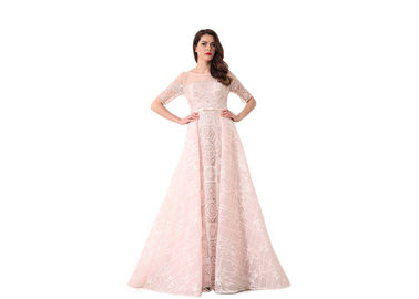 China Light Pink Half Sleeve Evening Dresses / Saudi Wedding Bridesmaid Dress distributor